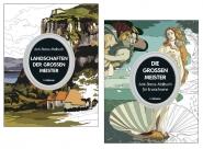 2 Anti-Stress-Malbücher für Erwachsene: Die großen Meister & Landschaften der großen Meister.