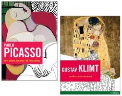 2 Anti-Stress-Malbücher für Erwachsene: Pablo Picasso & Gustav Klimt