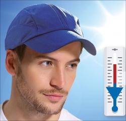 Intelligente Mütze. Kühlungseffekt durch Spezialgewebe.
