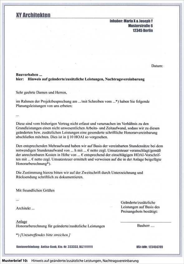 Musterbriefe Rechnungen : Architekturfachbuch architekten und ingenieurvertrag nach hoai